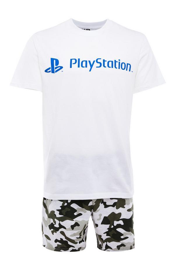 "Kurzes weißes ""PlayStation"" Pyjamaset mit Tarnmuster"
