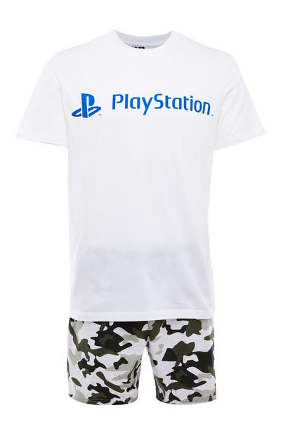 White And Camouflage Print Playstation Short Pyjama Set