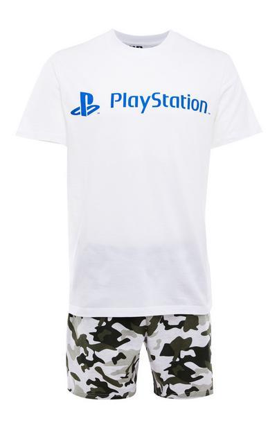 Korte pyjamaset wit en camouflageprint, PlayStation-opdruk
