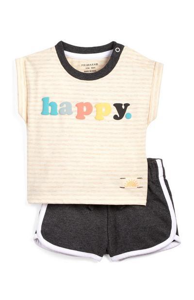 Conjunto de punto de camiseta con «Happy» estampado y pantalones cortos para bebé niño