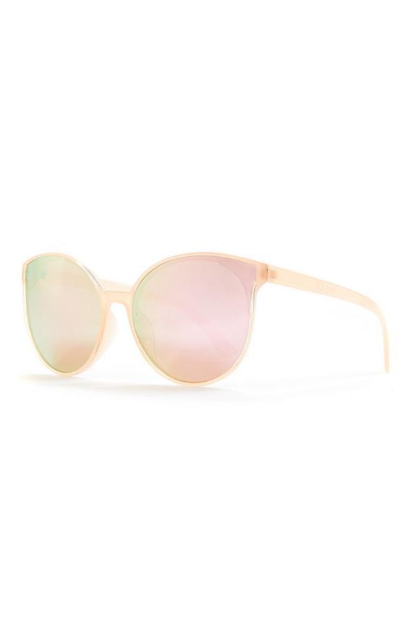Rožnata okrogla sončna očala z odsevom in kovinskimi ročkami
