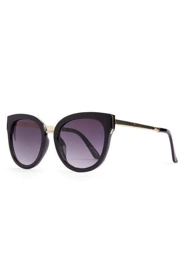 Black Round Mirror Metal Arm Sunglasses