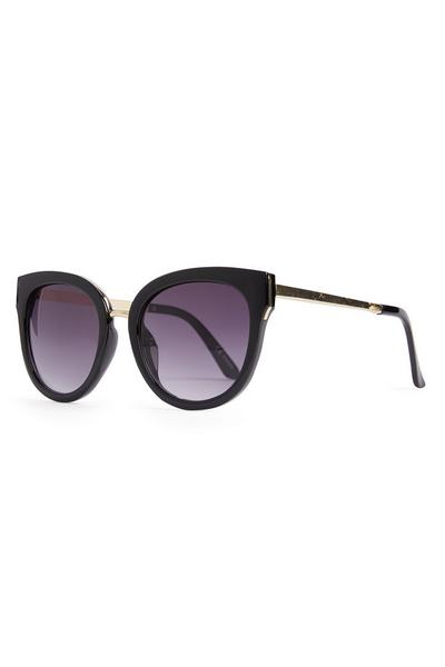 Black Round Mirror Metal Arm Sunglasses