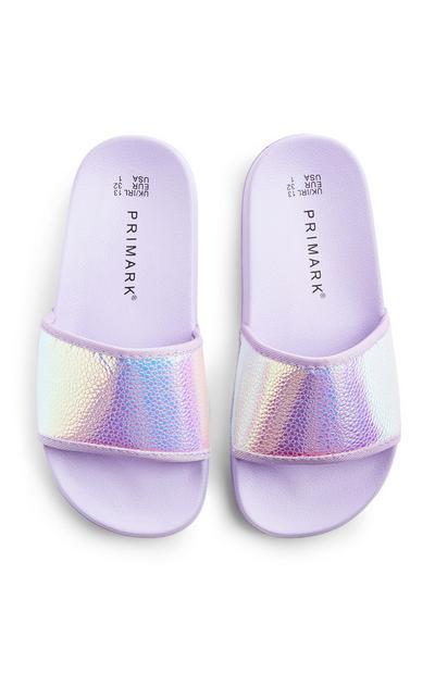 Claquettes violettes sirène holographiques ado