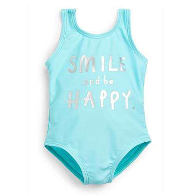 Baby Girl Blue Slogan Swimsuit