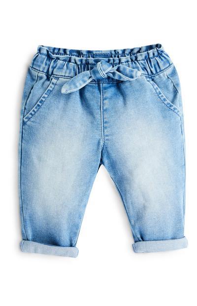 Dekliške ohlapne kavbojke iz džinsa s pentljo v pasu za dojenčke