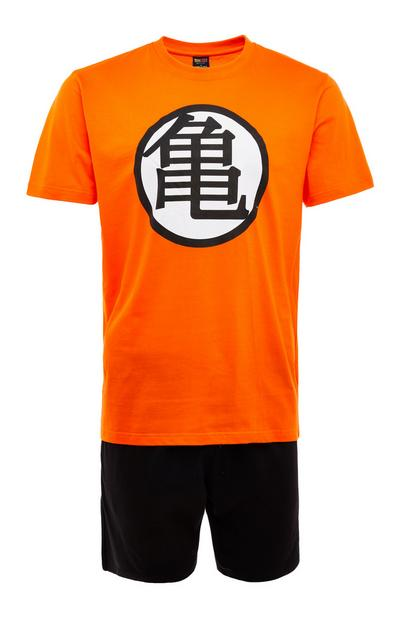 Black And Orange Dragon Ball Z Master Roshi Emblem Short Pyjamas Set