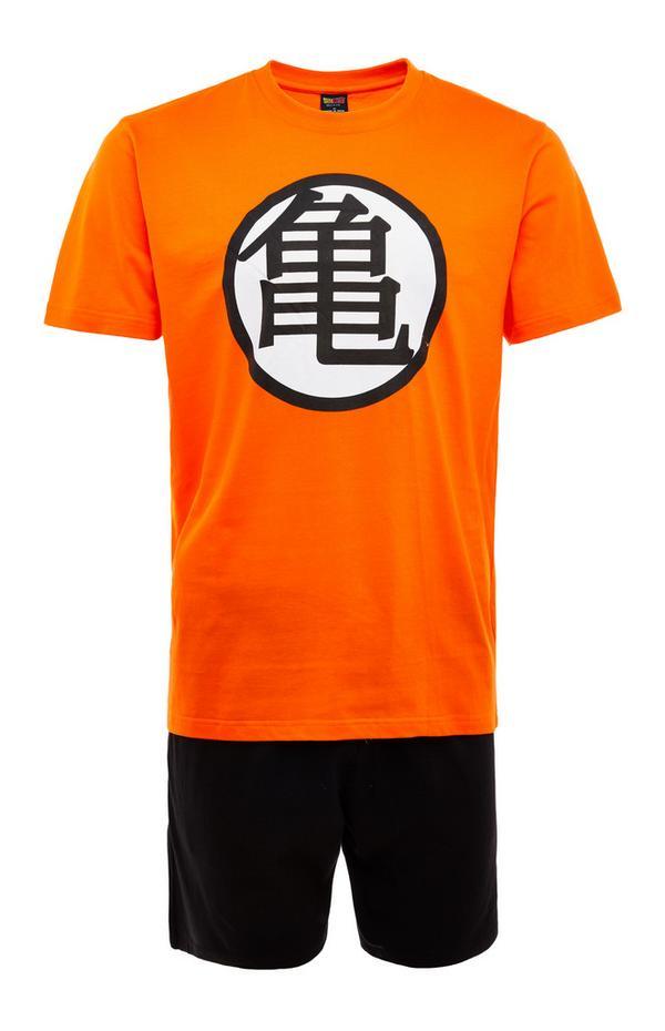 Black And Orange Dragon Ball Z Master Roshi Emblem Short Pyjamas Set