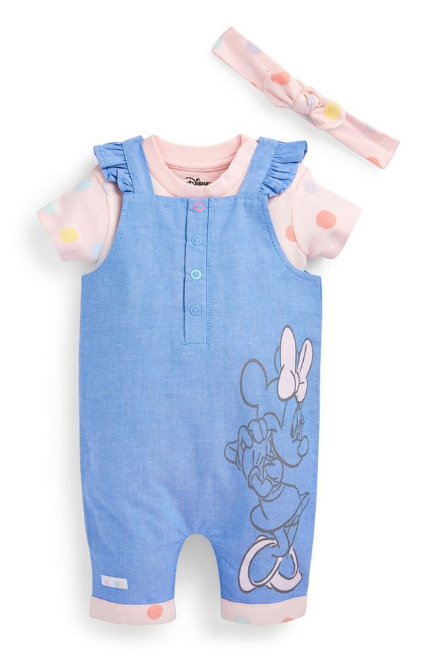 Newborn Baby Girl Disney Minnie Mouse Dungarees Set 3 Piece