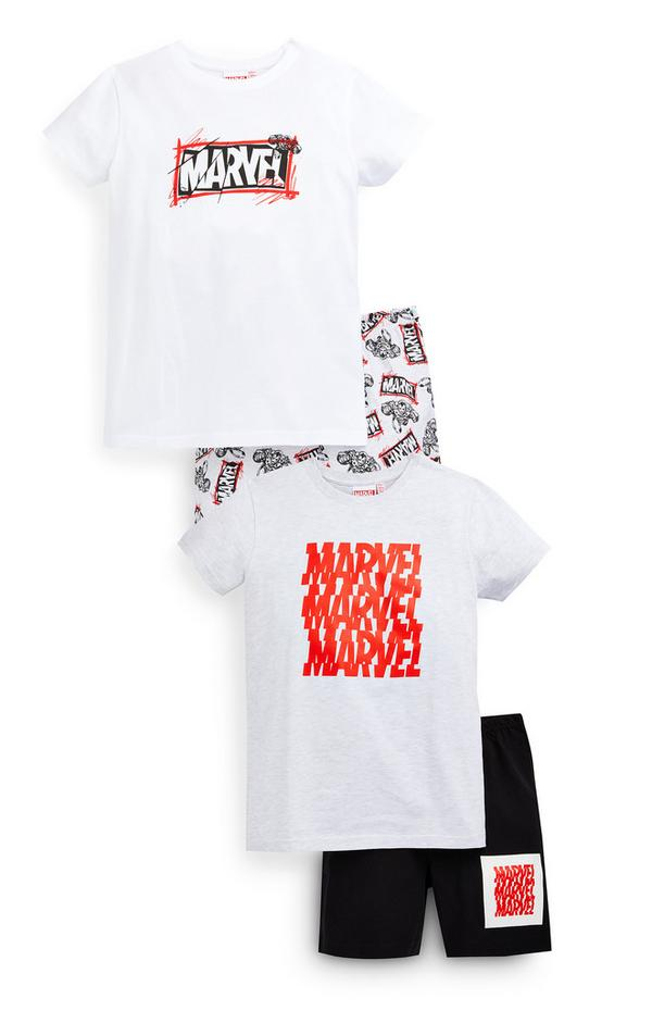 Older Boy White Marvel Pyjamas 2 Pack