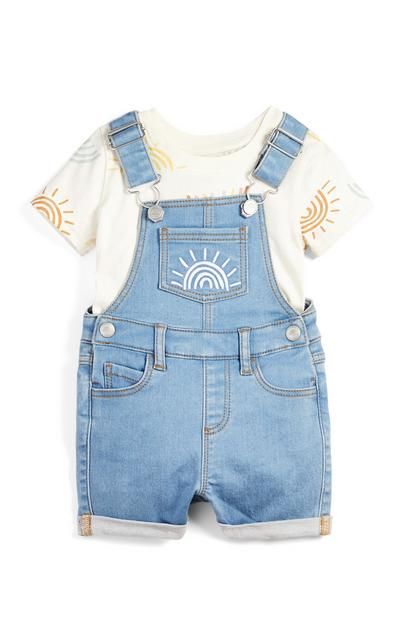 Baby Boy Sun Print T-Shirt And Denim Overalls Set