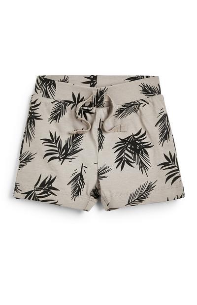 Pantalón corto beis con estampado de hojas para bebé niño