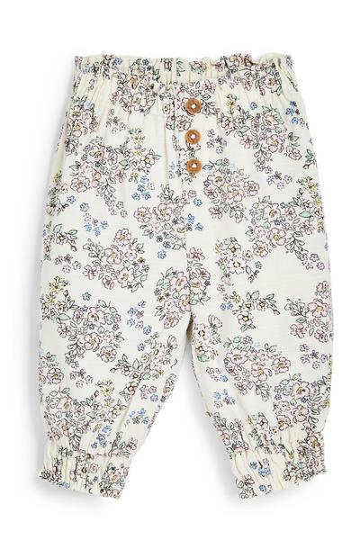 Baby Girl White Viscose Print Trousers