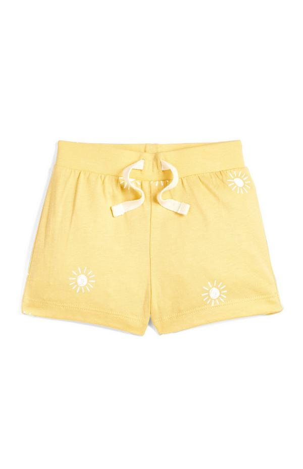 Rumene fantovske kratke hlače s potiskom sonca za dojenčke