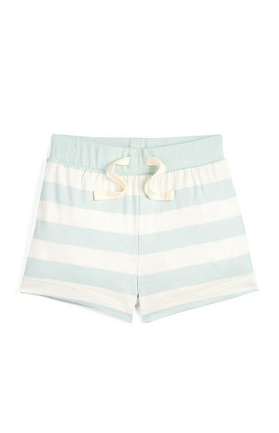 Baby Boy Mint And Ecru Striped Shorts