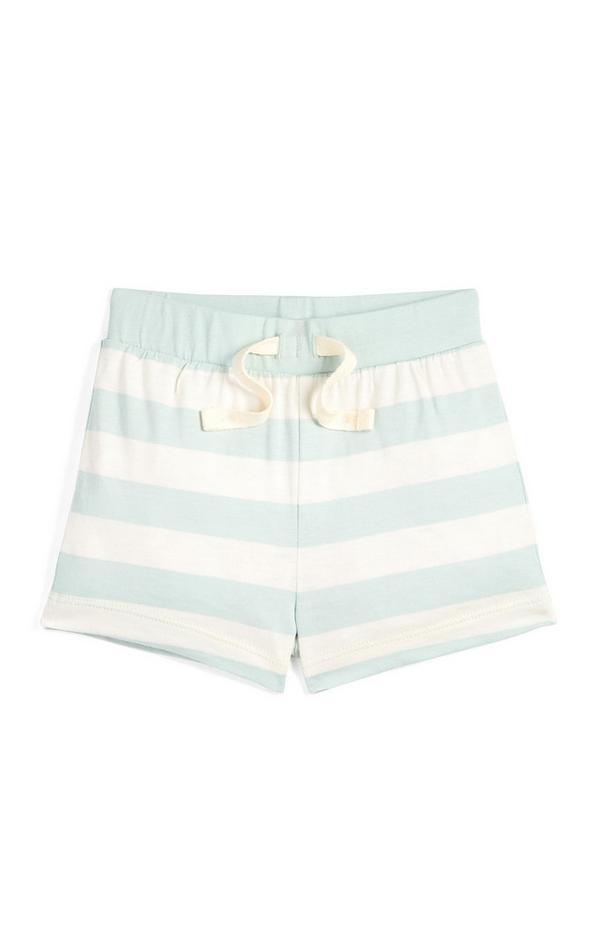 Pantalones cortos a rayas color menta y crudo para bebé niño
