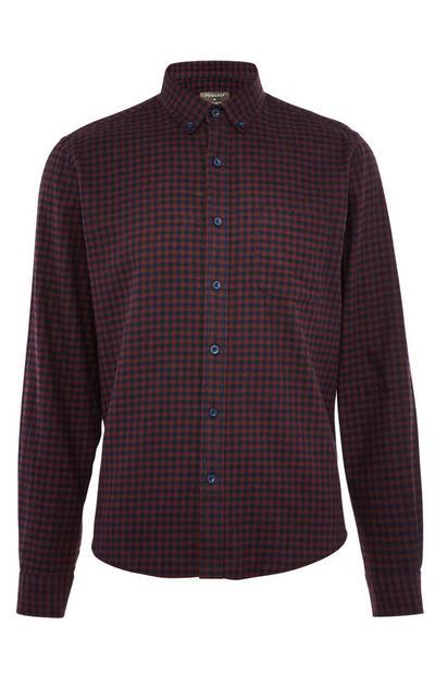 Burgundy Long Sleeve Gingham Flannel Shirt