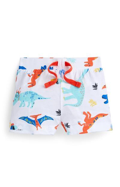 Bele fantovske hlače z dinozavri za dojenčke