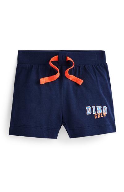 Mornarsko modre fantovske kratke hlače z napisom Dino Crew za dojenčke
