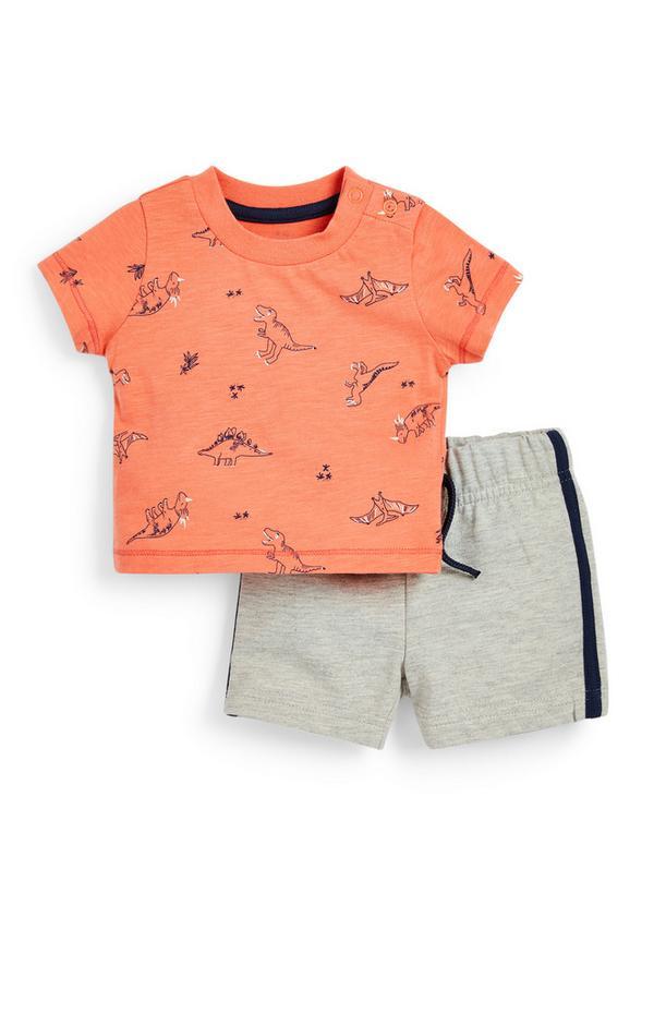 Jersey babysetje met perzikroze T-shirt met dinosaurusprint en grijze short voor jongens