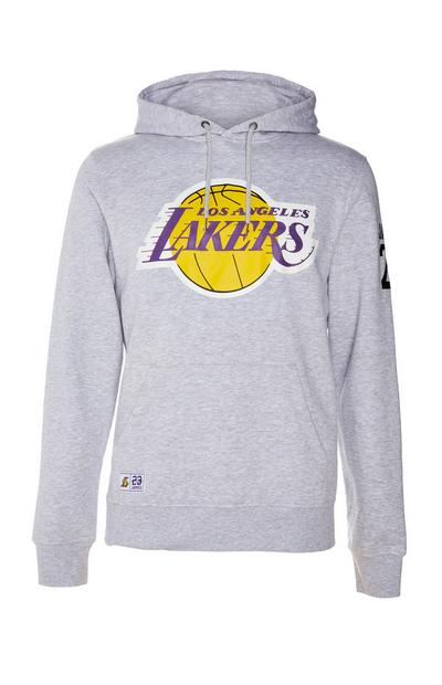 Sweat à capuche gris à enfiler NBA LA Lakers