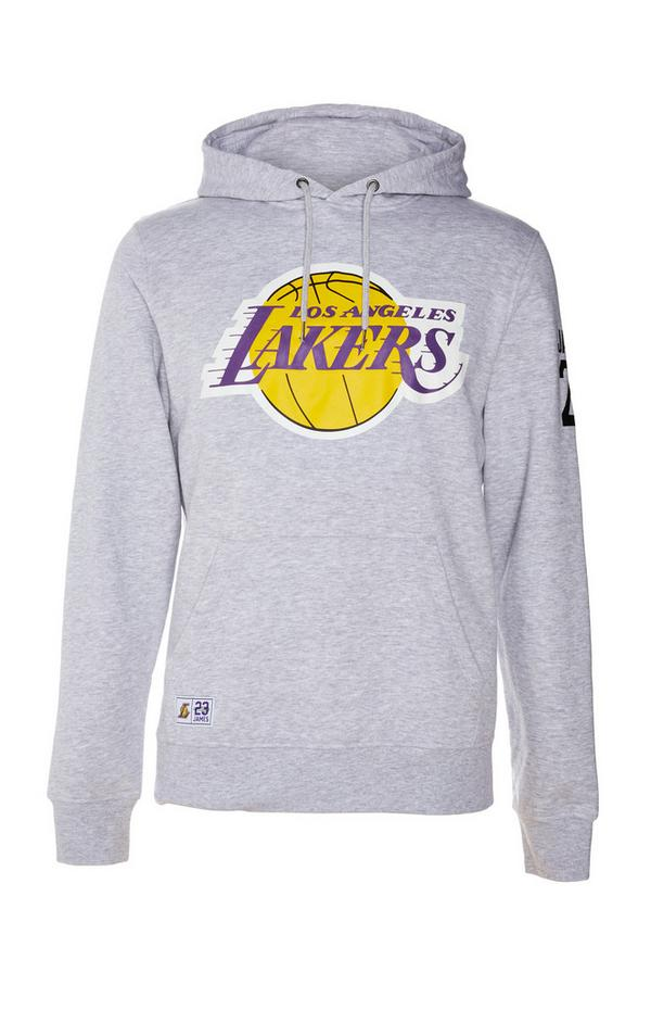 Sweat à capuche gris à enfiler NBA LA Lakers