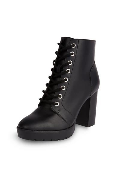 Black High Heeled Lace Up Boots