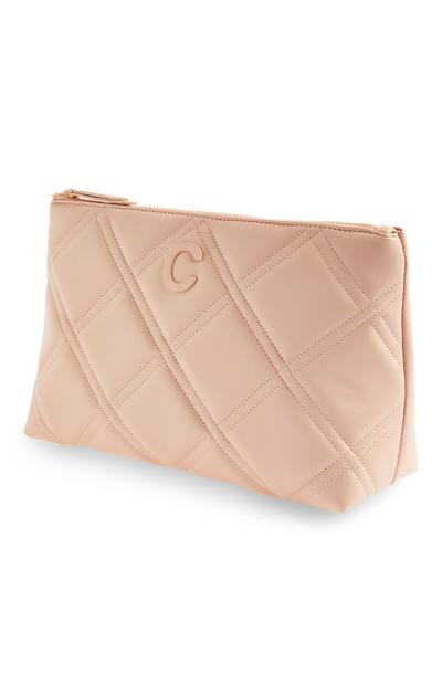 Blush Initial Quilted Toiletry Bag