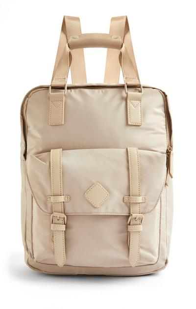 Beige Nylon Top Handle Backpack