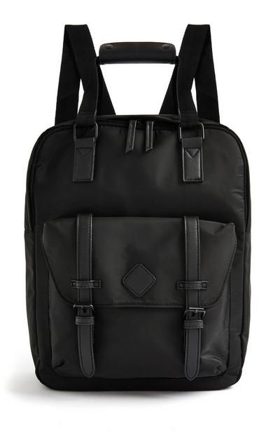 Black Top Handle Tonal Backpack