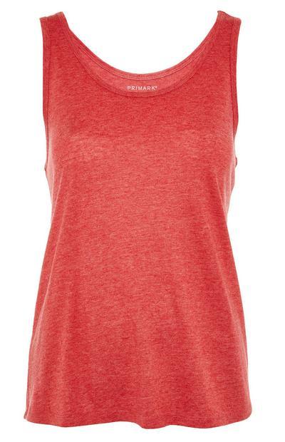 Rdeča majica brez rokavov z okroglim izrezom iz mešanice bombaža in poliestra