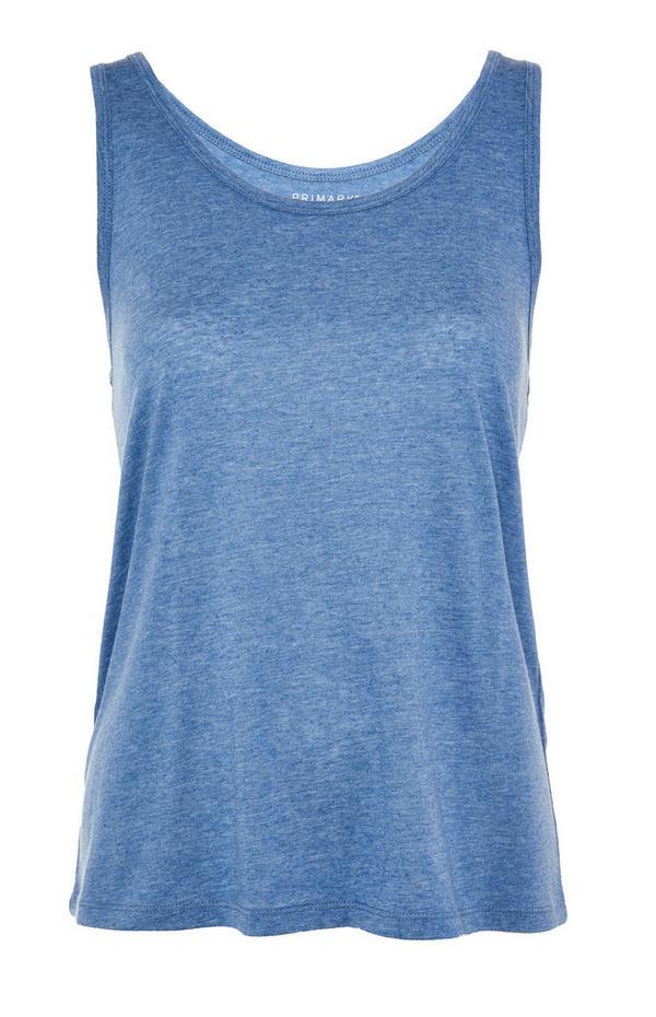 Modra majica brez rokavov z okroglim izrezom iz mešanice bombaža in poliestra