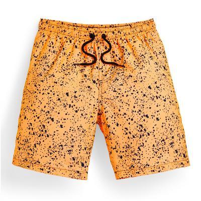 Older Boy Orange Paintsplat Print Swim Shorts