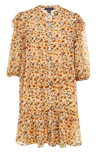 Rumena mini obleka iz šifona s potiskom
