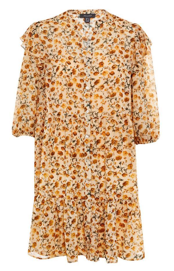 Mini robe jaune en mousseline à imprimé