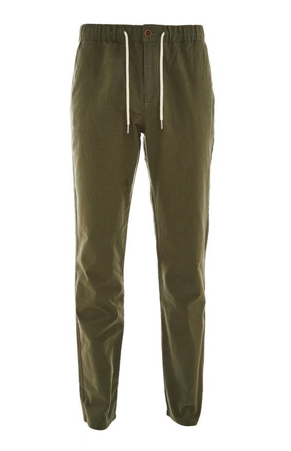 Khaki Elasticated Waist Linen Trousers
