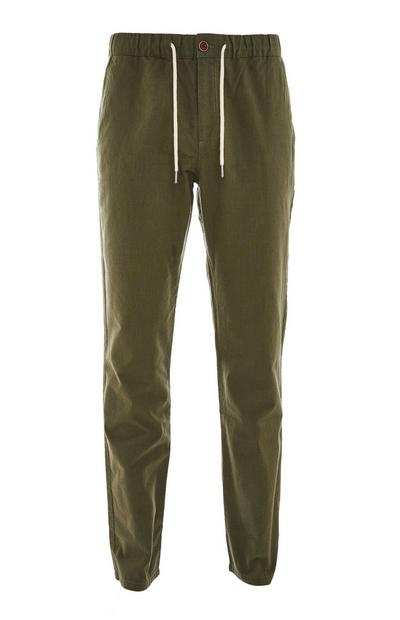 Khaki Elasticated Waist Linen Trousers