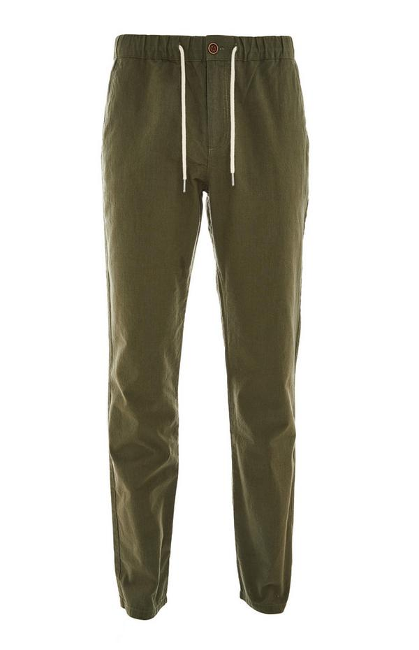 Olive Stretch Waist Linen Pants
