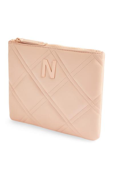 Blush Initial Quilted Pouch