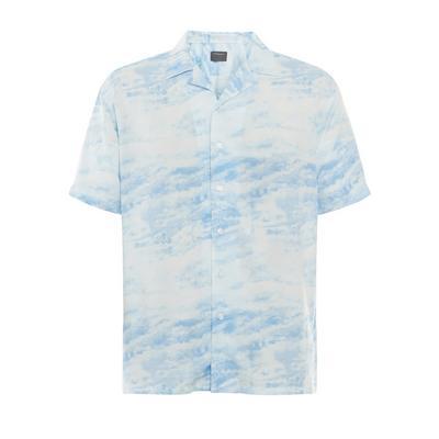 Camicia blu in viscosa effetto tie dye