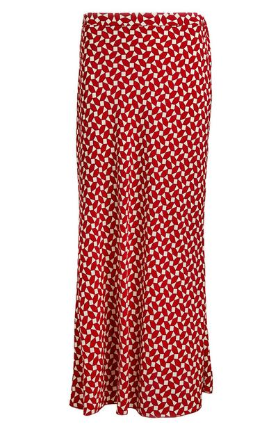 Red Geometric Print Fluted Skirt