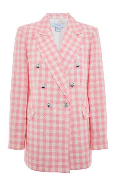 Roze geruite blazer van bouclé
