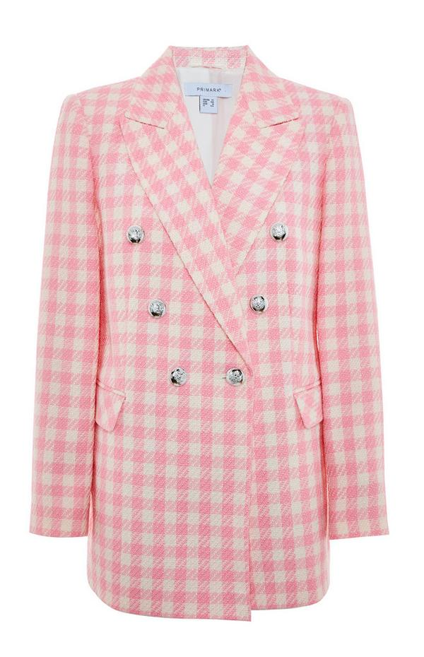 Krem rožnat karirast suknjič iz bukleja