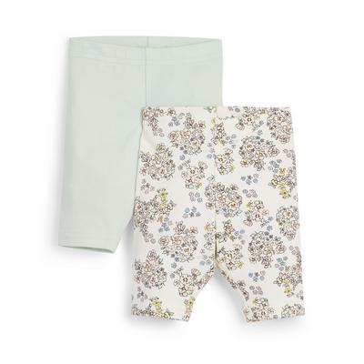 2-Pack Baby Girl Green Cropped Leggings