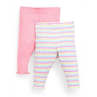 Baby Girl Pink Striped Ribbed Leggings 2 Pack