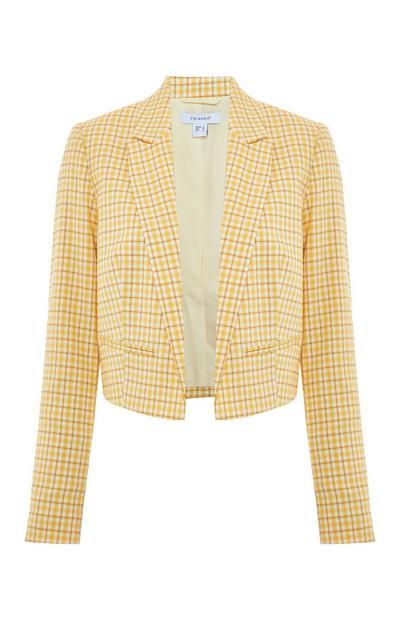 Yellow Check Gelato Cropped Blazer Jacket
