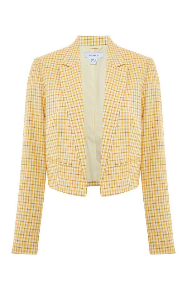 Blazer corto giallo a quadri stile gelataio