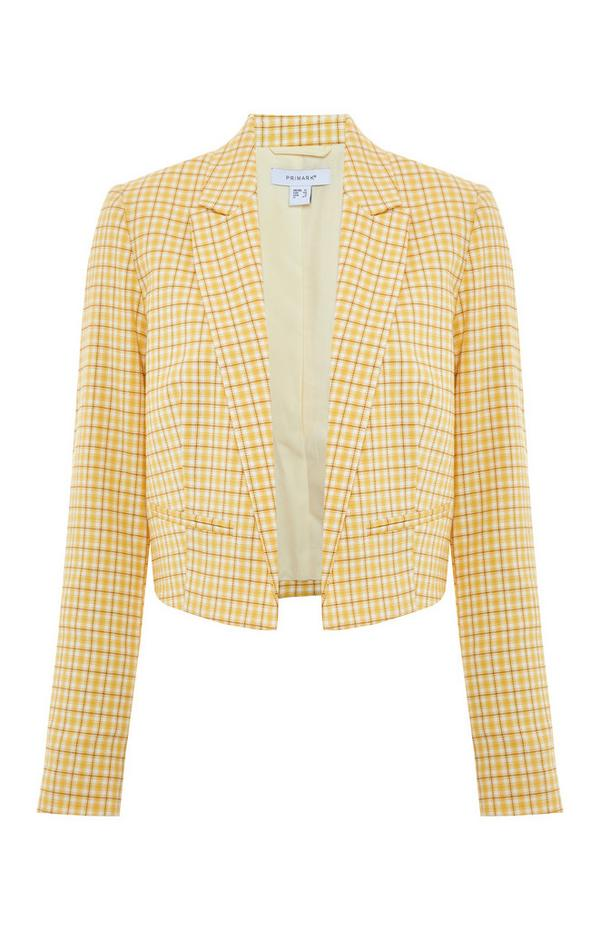 Kremno rumen karirast suknjič krajšega kroja
