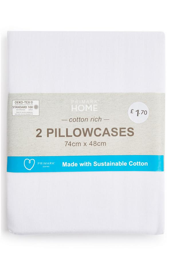 White Cotton Rich Pillowcase Pair