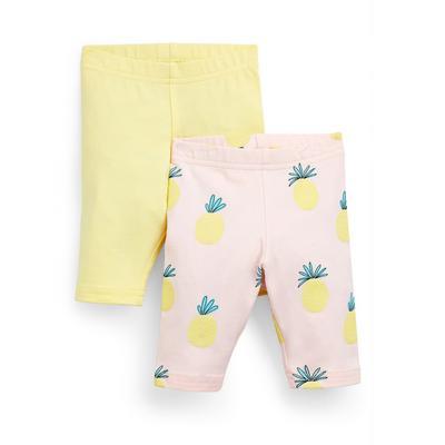 Baby Girl Yellow Pineapple Cropped Leggings 2 Pack